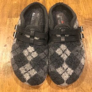 Haflinger Wool Plaid Argyle Size 40 Slip On Clogs